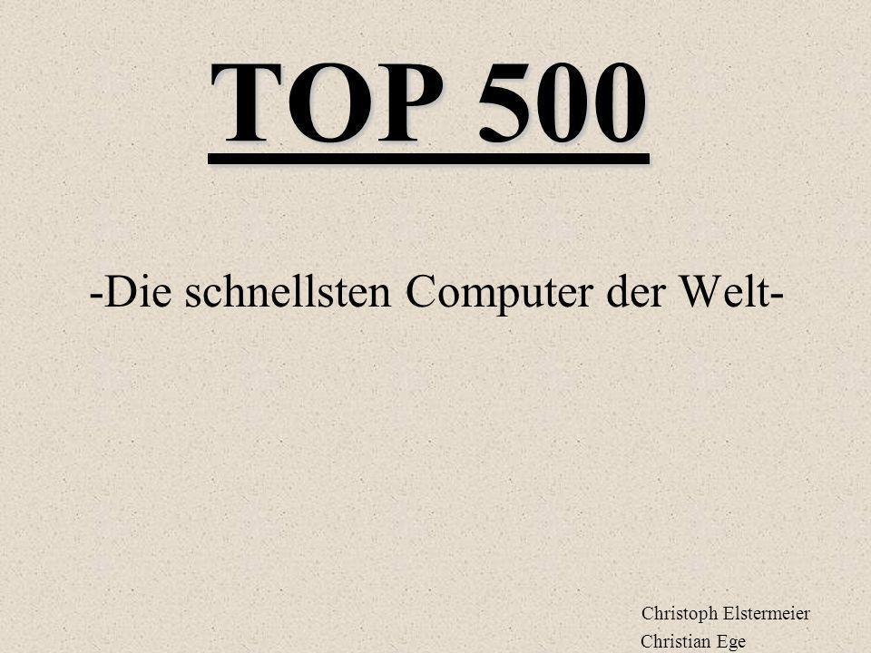 TOP 500 -Die schnellsten Computer der Welt- Christoph Elstermeier Christian Ege