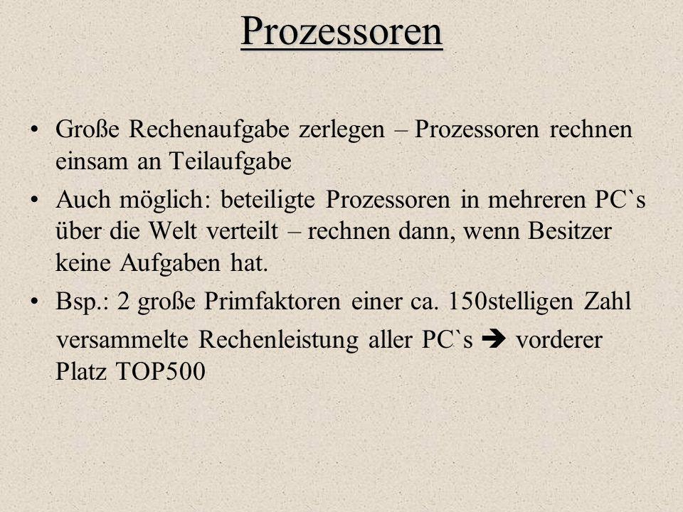 Prozessoren Große Rechenaufgabe zerlegen – Prozessoren rechnen einsam an Teilaufgabe Auch möglich: beteiligte Prozessoren in mehreren PC`s über die We