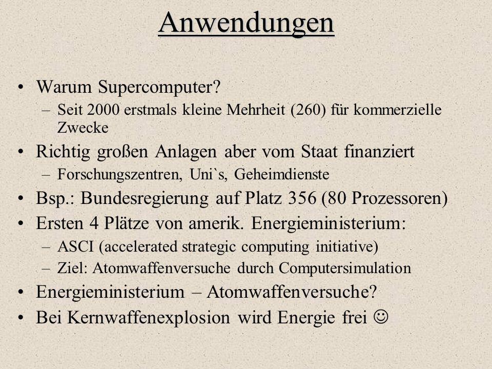 Anwendungen Warum Supercomputer? –Seit 2000 erstmals kleine Mehrheit (260) für kommerzielle Zwecke Richtig großen Anlagen aber vom Staat finanziert –F