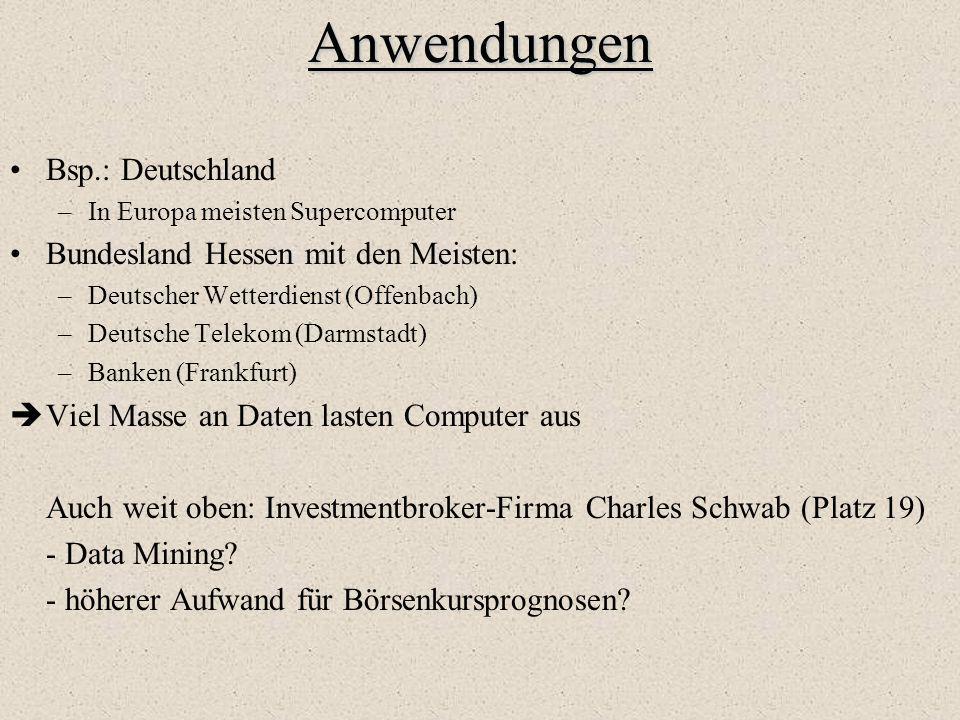 Anwendungen Bsp.: Deutschland –In Europa meisten Supercomputer Bundesland Hessen mit den Meisten: –Deutscher Wetterdienst (Offenbach) –Deutsche Teleko