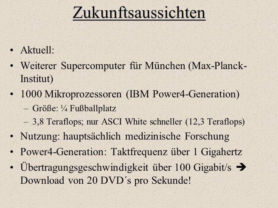 Zukunftsaussichten Aktuell: Weiterer Supercomputer für München (Max-Planck- Institut) 1000 Mikroprozessoren (IBM Power4-Generation) –Größe: ¼ Fußballp