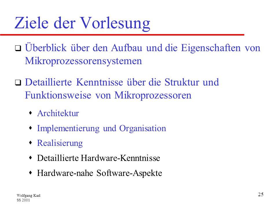 Wolfgang Karl SS 2001 25 Ziele der Vorlesung  Überblick über den Aufbau und die Eigenschaften von Mikroprozessorensystemen  Detaillierte Kenntnisse über die Struktur und Funktionsweise von Mikroprozessoren  Architektur  Implementierung und Organisation  Realisierung  Detaillierte Hardware-Kenntnisse  Hardware-nahe Software-Aspekte