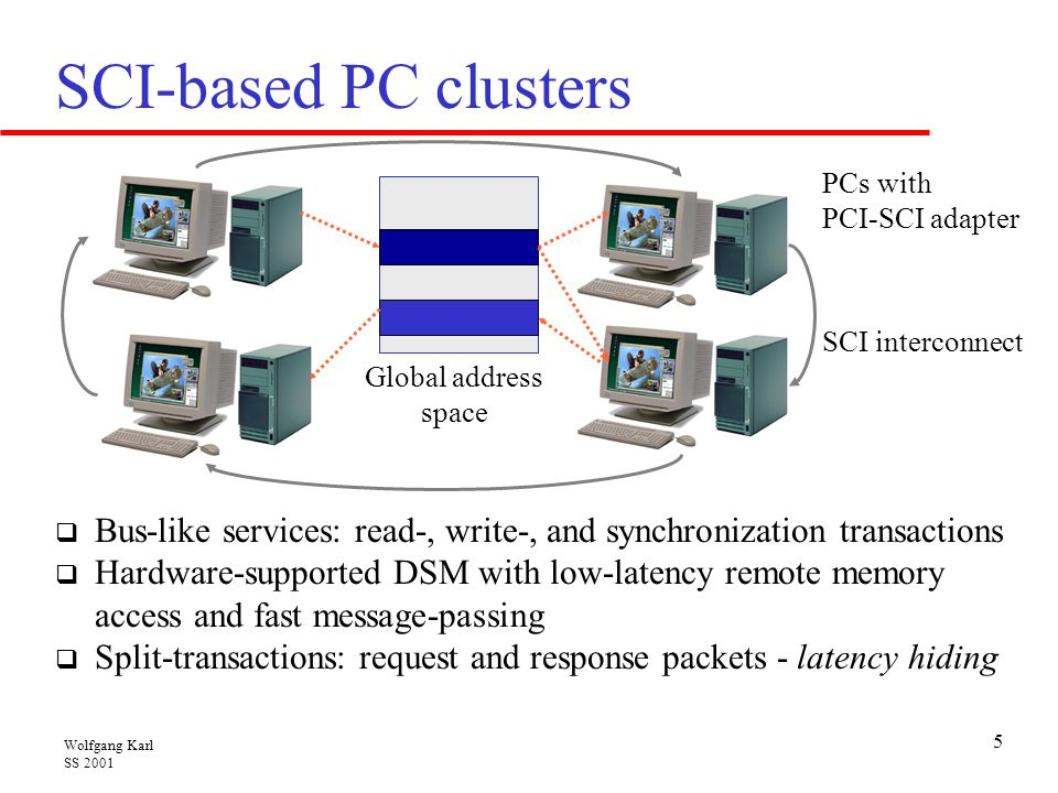Wolfgang Karl SS 2001 5 SCI-based PC clusters  Bus-like services: read-, write-, and synchronization transactions  Hardware-supported DSM with low-l