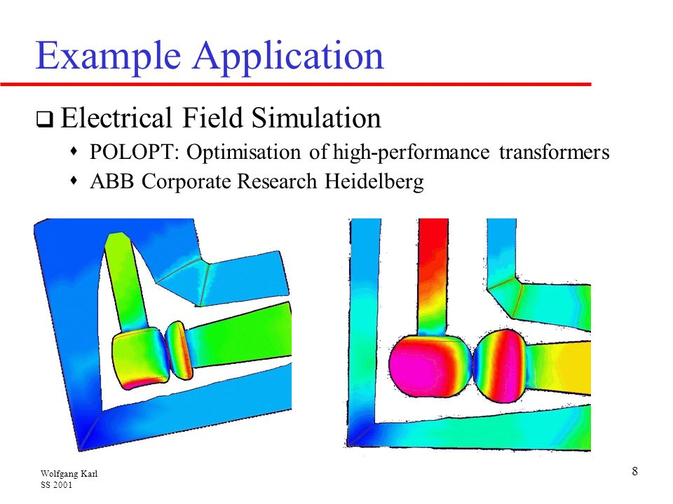 Wolfgang Karl SS 2001 8 Example Application  Electrical Field Simulation  POLOPT: Optimisation of high-performance transformers  ABB Corporate Research Heidelberg