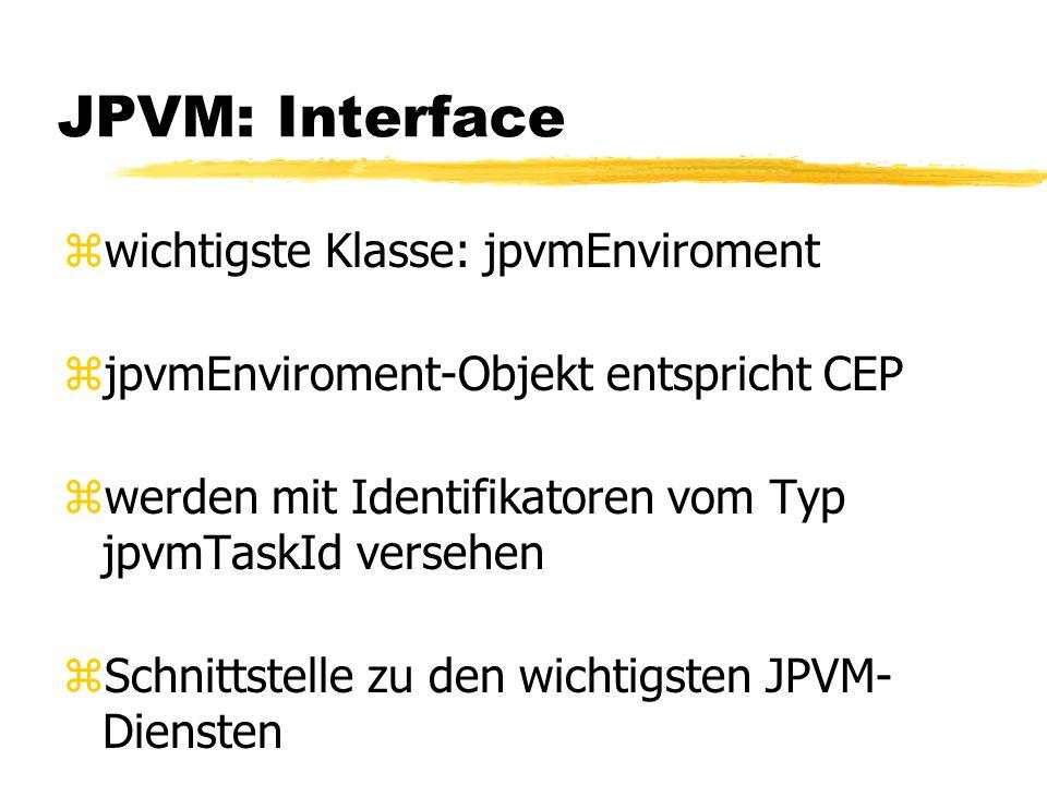 JPVM: Interface zwichtigste Klasse: jpvmEnviroment zjpvmEnviroment-Objekt entspricht CEP zwerden mit Identifikatoren vom Typ jpvmTaskId versehen zSchnittstelle zu den wichtigsten JPVM- Diensten