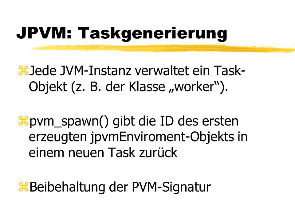 JPVM: Taskgenerierung zJede JVM-Instanz verwaltet ein Task- Objekt (z.