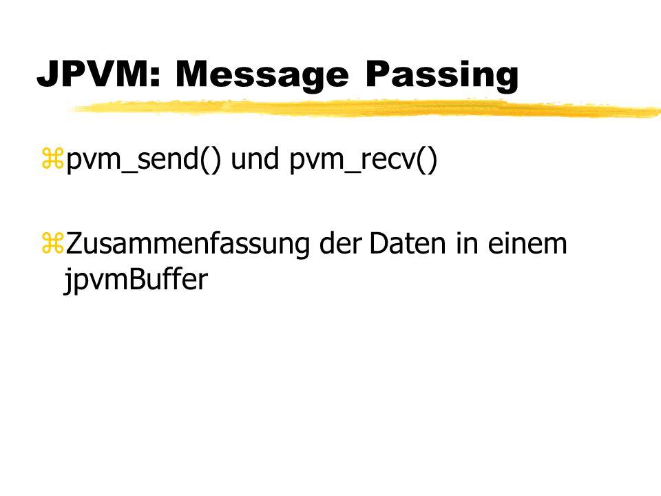 JPVM: Message Passing zpvm_send() und pvm_recv() zZusammenfassung der Daten in einem jpvmBuffer