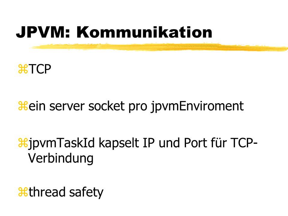 JPVM: Kommunikation zTCP zein server socket pro jpvmEnviroment zjpvmTaskId kapselt IP und Port für TCP- Verbindung zthread safety