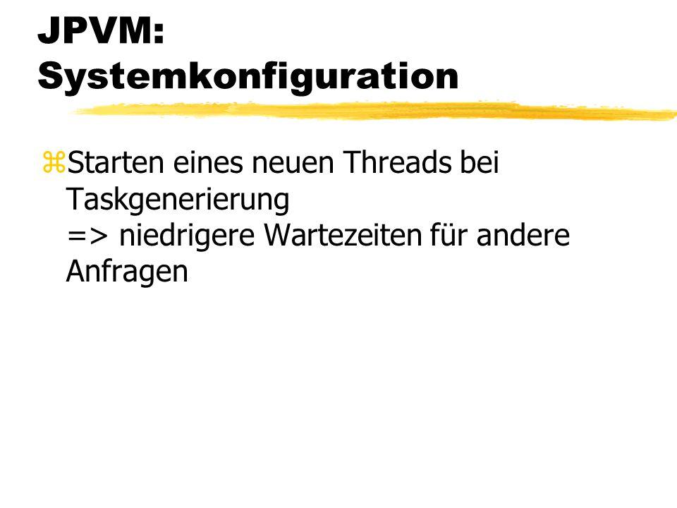 JPVM: Systemkonfiguration zStarten eines neuen Threads bei Taskgenerierung => niedrigere Wartezeiten für andere Anfragen
