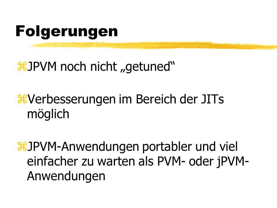 """Folgerungen zJPVM noch nicht """"getuned zVerbesserungen im Bereich der JITs möglich zJPVM-Anwendungen portabler und viel einfacher zu warten als PVM- oder jPVM- Anwendungen"""