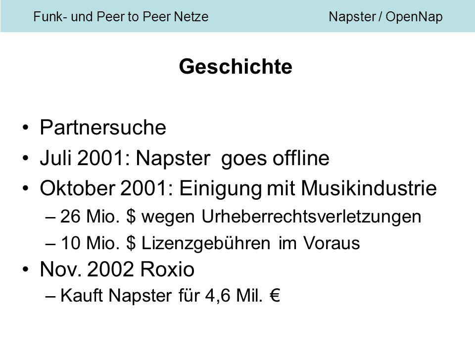 Funk- und Peer to Peer NetzeNapster / OpenNap Geschichte Partnersuche Juli 2001: Napster goes offline Oktober 2001: Einigung mit Musikindustrie –26 Mio.