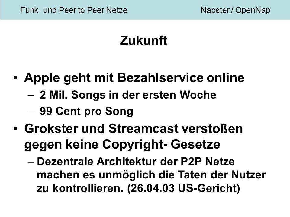 Funk- und Peer to Peer NetzeNapster / OpenNap Zukunft Apple geht mit Bezahlservice online – 2 Mil.