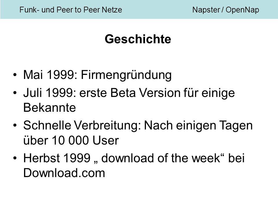 """Funk- und Peer to Peer NetzeNapster / OpenNap Geschichte Mai 1999: Firmengründung Juli 1999: erste Beta Version für einige Bekannte Schnelle Verbreitung: Nach einigen Tagen über 10 000 User Herbst 1999 """" download of the week bei Download.com"""