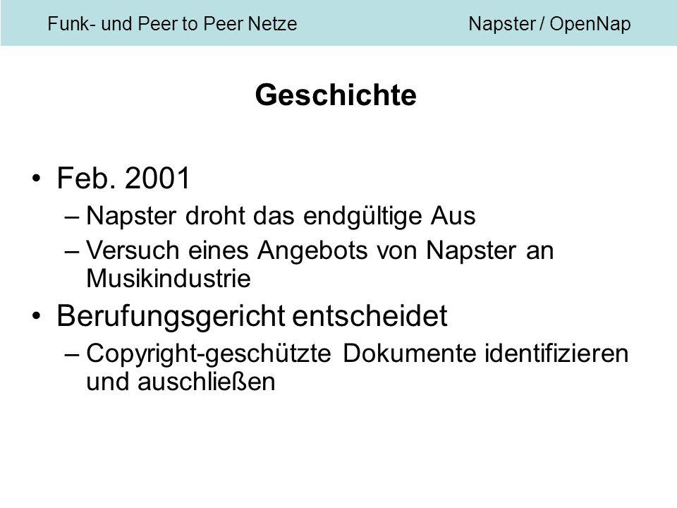 Funk- und Peer to Peer NetzeNapster / OpenNap Geschichte Feb.
