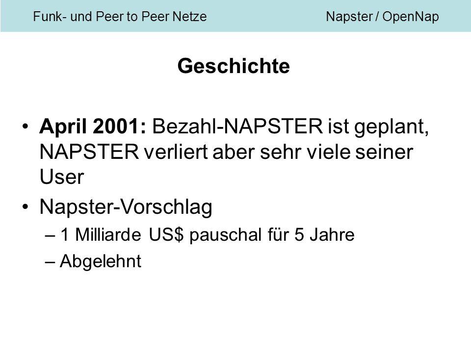 Funk- und Peer to Peer NetzeNapster / OpenNap Geschichte April 2001: Bezahl-NAPSTER ist geplant, NAPSTER verliert aber sehr viele seiner User Napster-Vorschlag –1 Milliarde US$ pauschal für 5 Jahre –Abgelehnt
