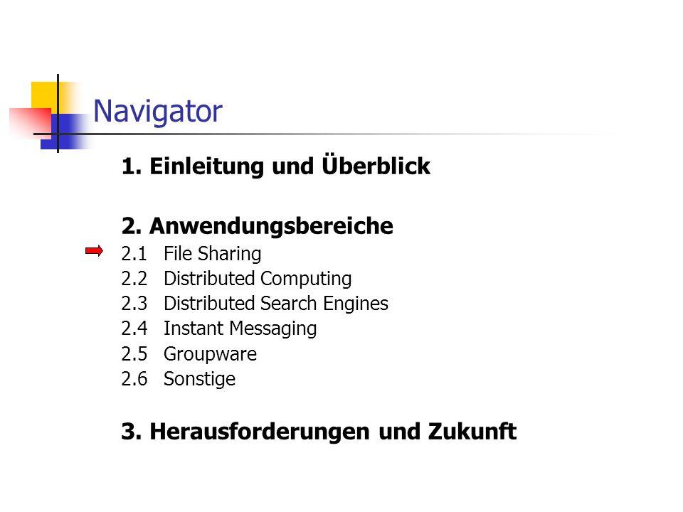 Navigator 1. Einleitung und Überblick 2. Anwendungsbereiche 2.1File Sharing 2.2Distributed Computing 2.3Distributed Search Engines 2.4Instant Messagin