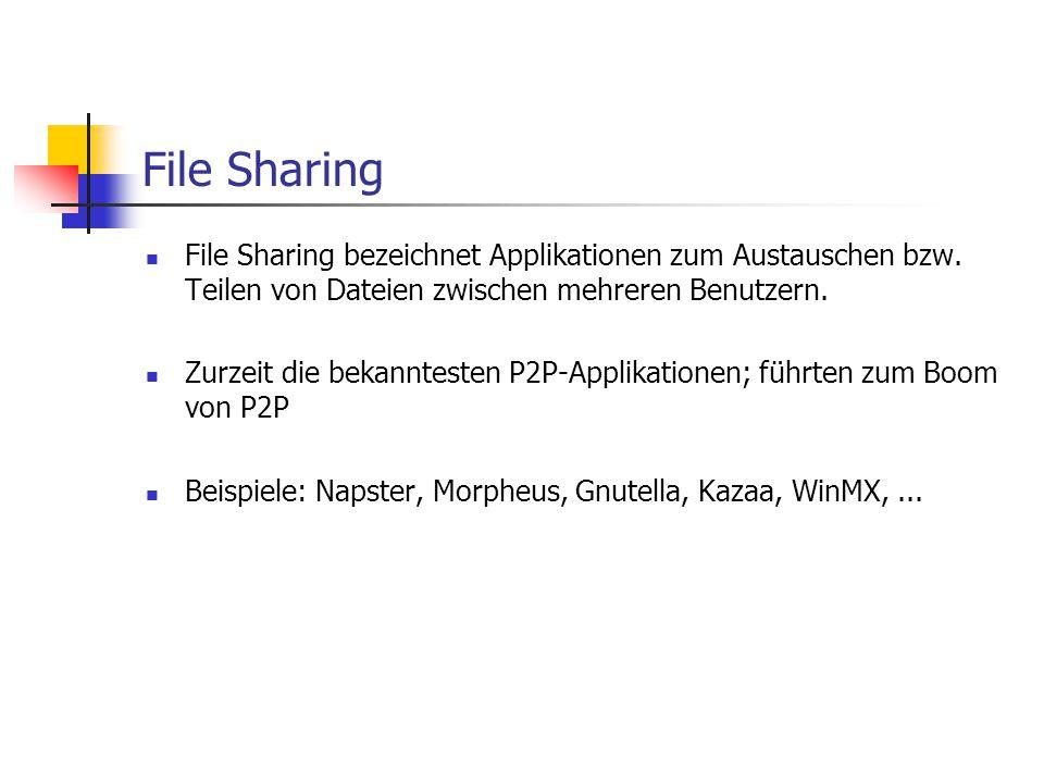 File Sharing File Sharing bezeichnet Applikationen zum Austauschen bzw. Teilen von Dateien zwischen mehreren Benutzern. Zurzeit die bekanntesten P2P-A