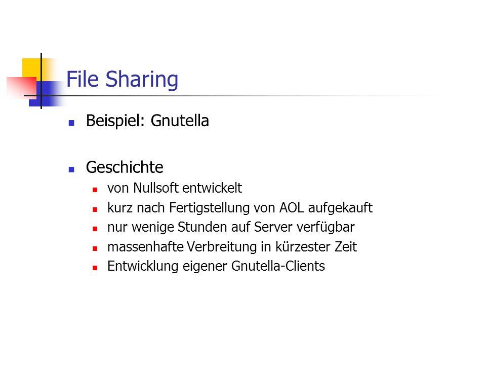 File Sharing Beispiel: Gnutella Geschichte von Nullsoft entwickelt kurz nach Fertigstellung von AOL aufgekauft nur wenige Stunden auf Server verfügbar
