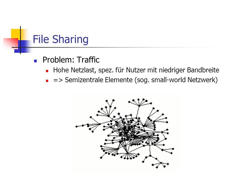 File Sharing Problem: Traffic Hohe Netzlast, spez. für Nutzer mit niedriger Bandbreite => Semizentrale Elemente (sog. small-world Netzwerk)