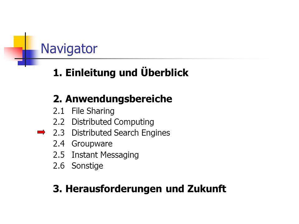 Navigator 1. Einleitung und Überblick 2. Anwendungsbereiche 2.1File Sharing 2.2Distributed Computing 2.3Distributed Search Engines 2.4Groupware 2.5Ins