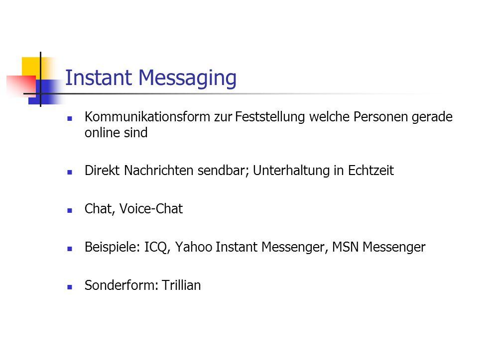 Instant Messaging Kommunikationsform zur Feststellung welche Personen gerade online sind Direkt Nachrichten sendbar; Unterhaltung in Echtzeit Chat, Vo