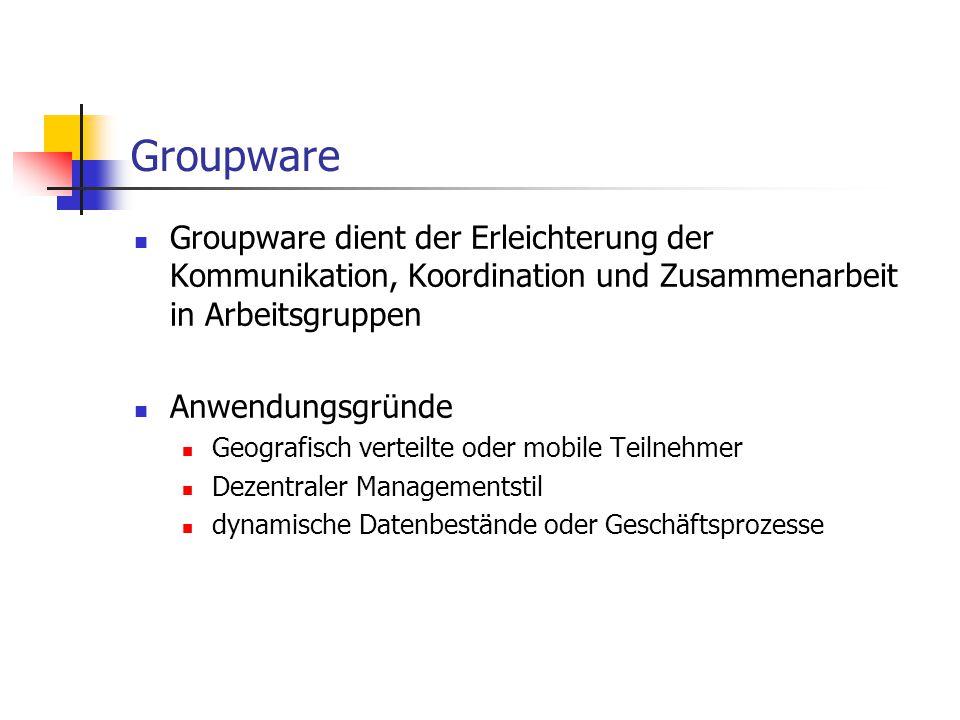 Groupware Groupware dient der Erleichterung der Kommunikation, Koordination und Zusammenarbeit in Arbeitsgruppen Anwendungsgründe Geografisch verteilt