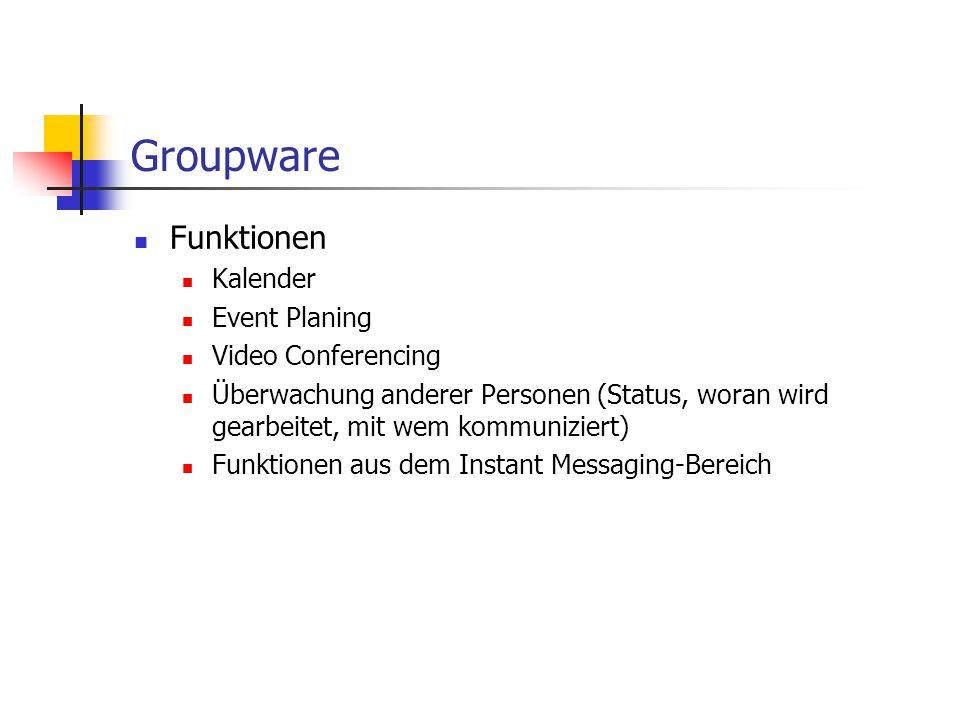 Groupware Funktionen Kalender Event Planing Video Conferencing Überwachung anderer Personen (Status, woran wird gearbeitet, mit wem kommuniziert) Funk