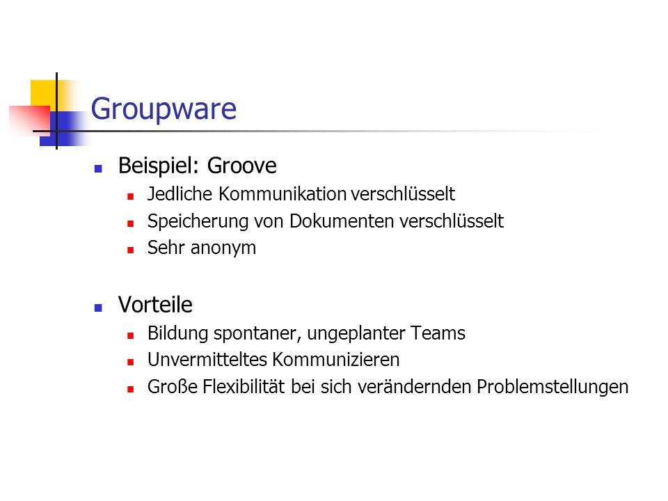 Groupware Beispiel: Groove Jedliche Kommunikation verschlüsselt Speicherung von Dokumenten verschlüsselt Sehr anonym Vorteile Bildung spontaner, ungep