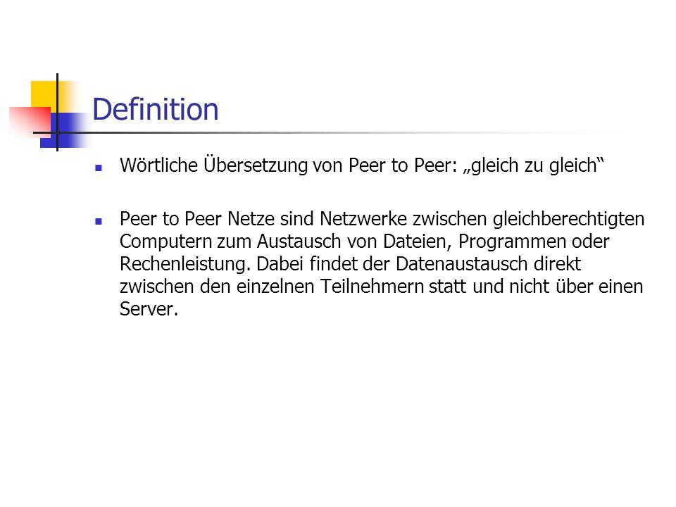 """Definition Wörtliche Übersetzung von Peer to Peer: """"gleich zu gleich"""" Peer to Peer Netze sind Netzwerke zwischen gleichberechtigten Computern zum Aust"""