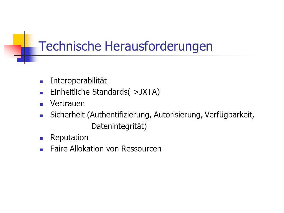 Technische Herausforderungen Interoperabilität Einheitliche Standards(->JXTA) Vertrauen Sicherheit (Authentifizierung, Autorisierung, Verfügbarkeit, D