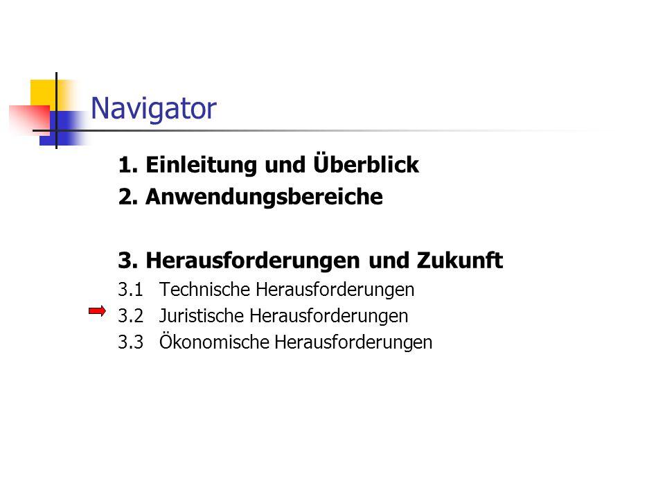 Navigator 1. Einleitung und Überblick 2. Anwendungsbereiche 3. Herausforderungen und Zukunft 3.1Technische Herausforderungen 3.2Juristische Herausford
