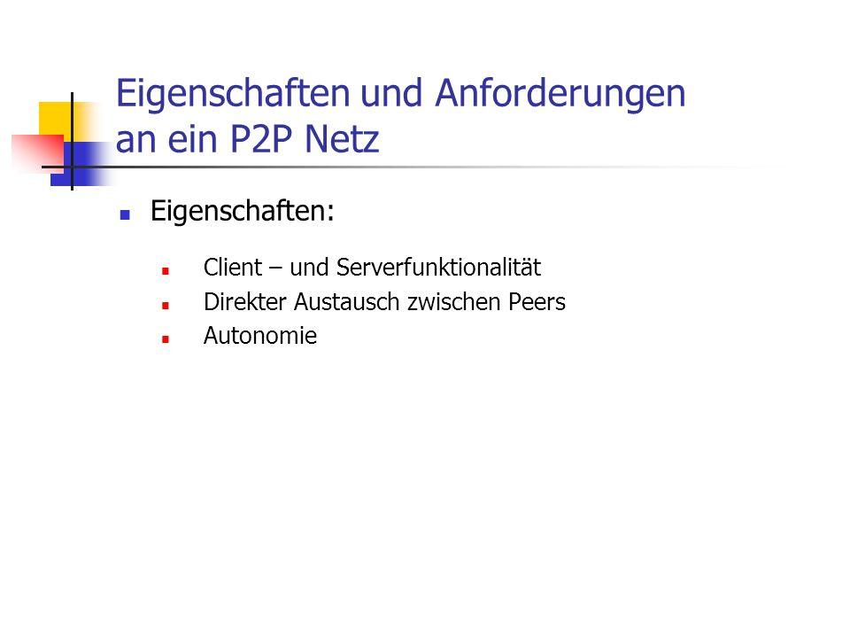 Eigenschaften und Anforderungen an ein P2P Netz Anforderungen: Sicherheit Erstellen und Verwalten der Verbindungen Erkennen von Offline/Online (->Adressierung) Bandbreitenverwaltung Wiederaufnahme abgebrochener Downloads Gleichzeitiger Download von mehreren Stellen Vormerken von Offline - Ressourcen