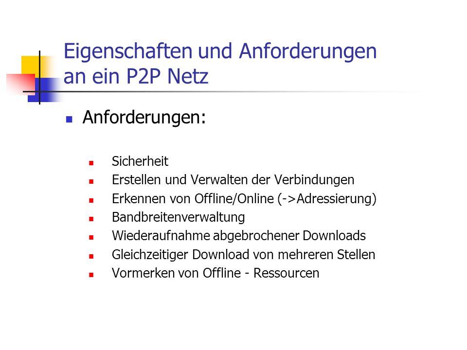 Eigenschaften und Anforderungen an ein P2P Netz Anforderungen: Sicherheit Erstellen und Verwalten der Verbindungen Erkennen von Offline/Online (->Adre