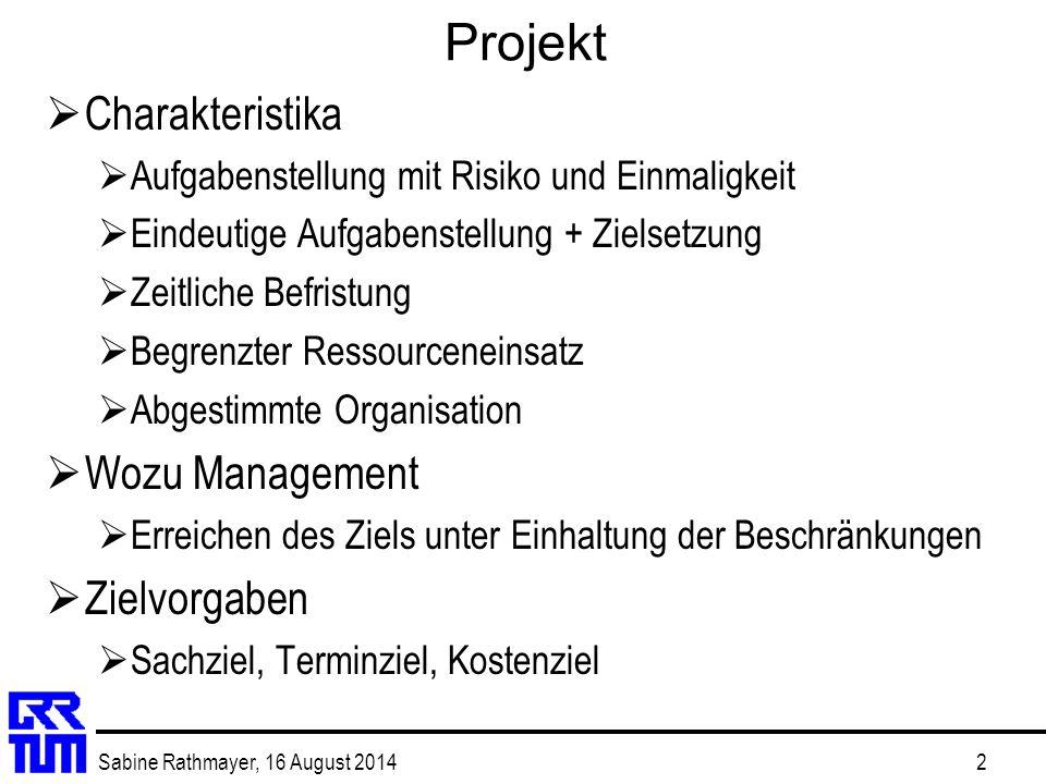 Sabine Rathmayer, 16 August 20142 Projekt  Charakteristika  Aufgabenstellung mit Risiko und Einmaligkeit  Eindeutige Aufgabenstellung + Zielsetzung