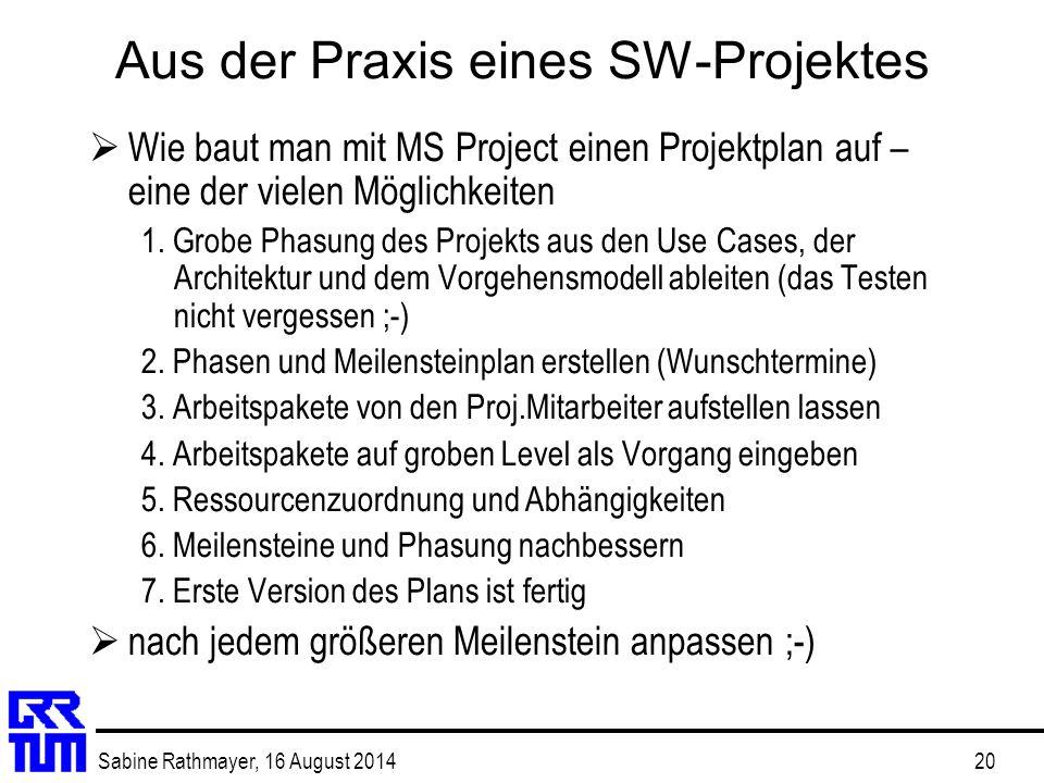 Sabine Rathmayer, 16 August 201420 Aus der Praxis eines SW-Projektes  Wie baut man mit MS Project einen Projektplan auf – eine der vielen Möglichkeit