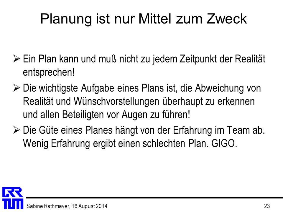 Sabine Rathmayer, 16 August 201423 Planung ist nur Mittel zum Zweck  Ein Plan kann und muß nicht zu jedem Zeitpunkt der Realität entsprechen!  Die w