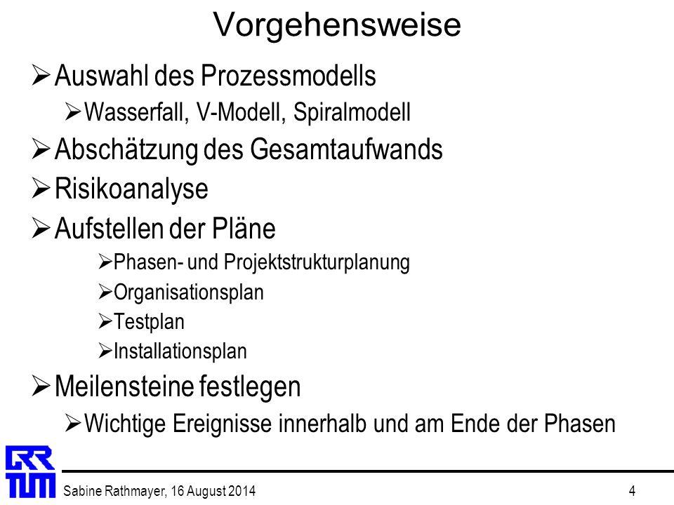Sabine Rathmayer, 16 August 20144 Vorgehensweise  Auswahl des Prozessmodells  Wasserfall, V-Modell, Spiralmodell  Abschätzung des Gesamtaufwands 
