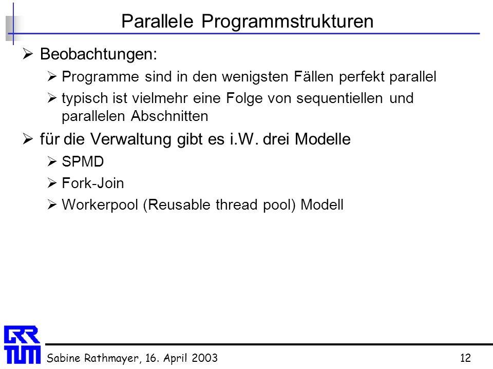 Sabine Rathmayer, 16. April 200312 Parallele Programmstrukturen  Beobachtungen:  Programme sind in den wenigsten Fällen perfekt parallel  typisch i