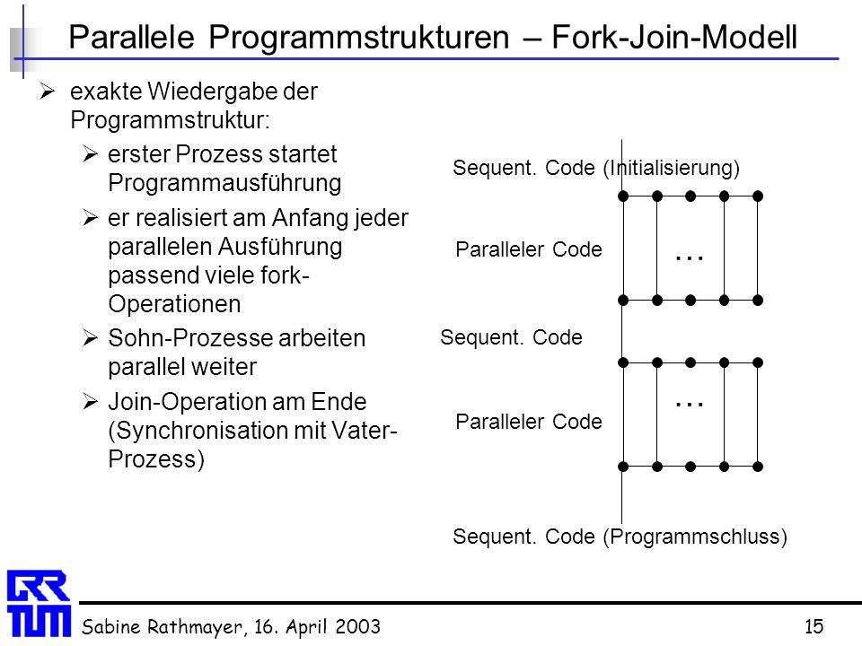 Sabine Rathmayer, 16. April 200315 Parallele Programmstrukturen – Fork-Join-Modell  exakte Wiedergabe der Programmstruktur:  erster Prozess startet