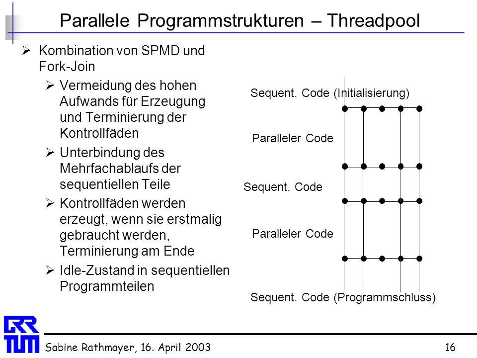 Sabine Rathmayer, 16. April 200316 Parallele Programmstrukturen – Threadpool  Kombination von SPMD und Fork-Join  Vermeidung des hohen Aufwands für