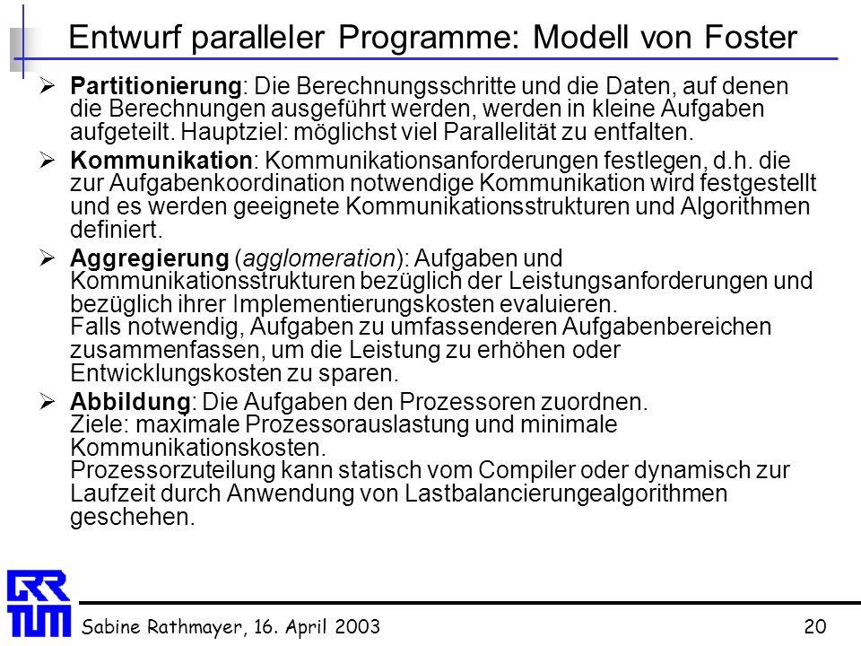 Sabine Rathmayer, 16. April 200320 Entwurf paralleler Programme: Modell von Foster  Partitionierung: Die Berechnungsschritte und die Daten, auf denen