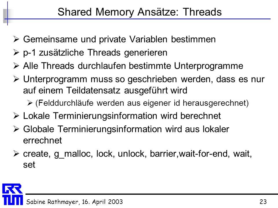 Sabine Rathmayer, 16. April 200323 Shared Memory Ansätze: Threads  Gemeinsame und private Variablen bestimmen  p-1 zusätzliche Threads generieren 