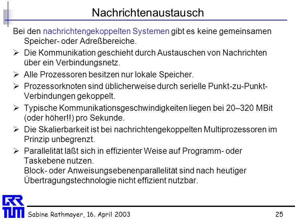 Sabine Rathmayer, 16. April 200325 Nachrichtenaustausch Bei den nachrichtengekoppelten Systemen gibt es keine gemeinsamen Speicher- oder Adreßbereiche
