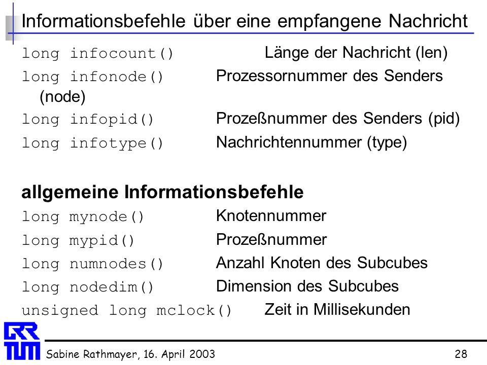 Sabine Rathmayer, 16. April 200328 Informationsbefehle über eine empfangene Nachricht long infocount() Länge der Nachricht (len) long infonode() Proze