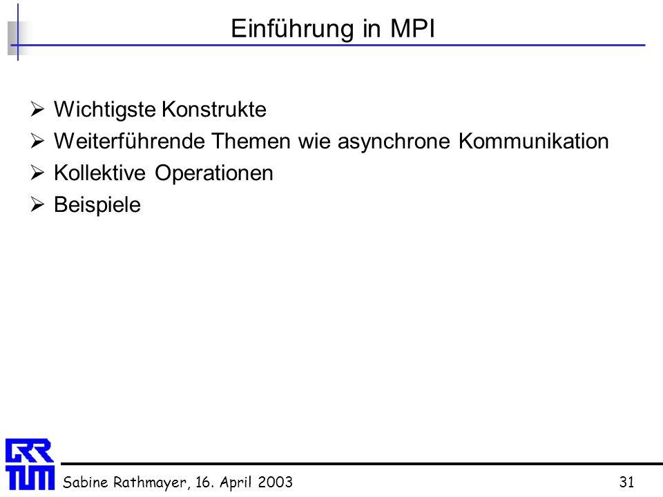 Sabine Rathmayer, 16. April 200331 Einführung in MPI  Wichtigste Konstrukte  Weiterführende Themen wie asynchrone Kommunikation  Kollektive Operati