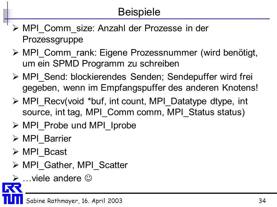 Sabine Rathmayer, 16. April 200334 Beispiele  MPI_Comm_size: Anzahl der Prozesse in der Prozessgruppe  MPI_Comm_rank: Eigene Prozessnummer (wird ben