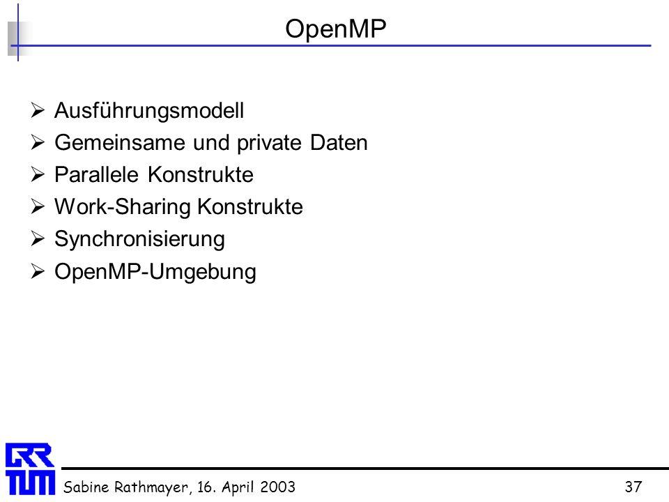 Sabine Rathmayer, 16. April 200337 OpenMP  Ausführungsmodell  Gemeinsame und private Daten  Parallele Konstrukte  Work-Sharing Konstrukte  Synchr