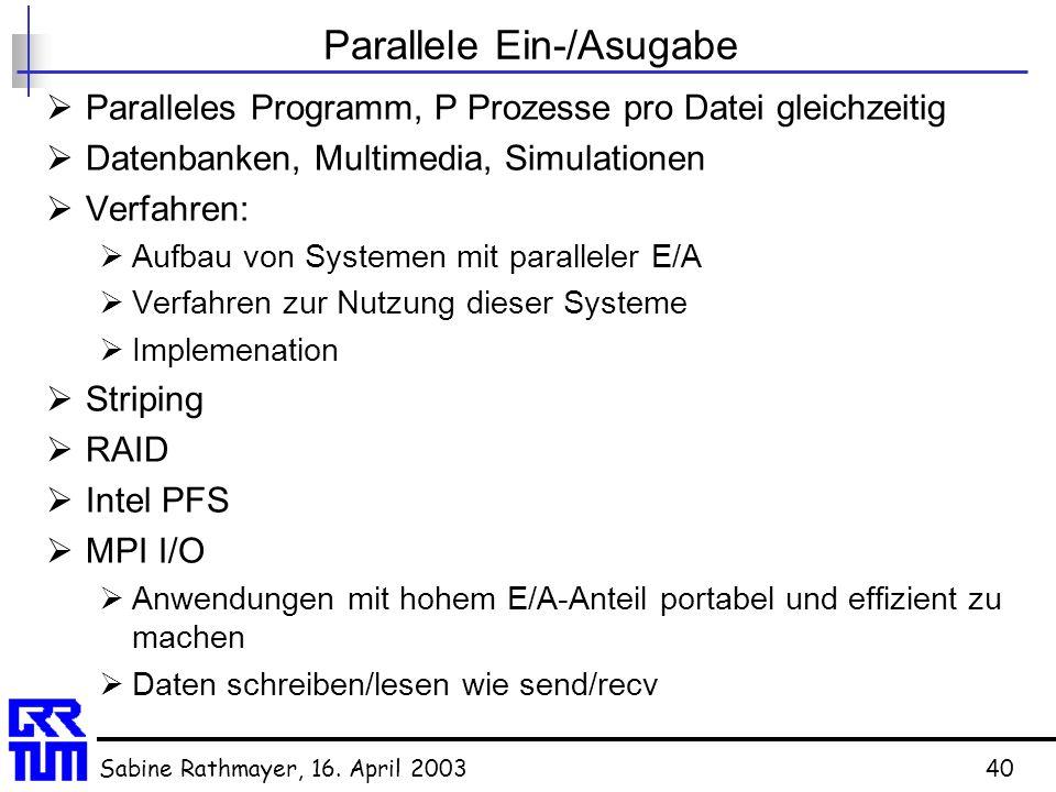 Sabine Rathmayer, 16. April 200340 Parallele Ein-/Asugabe  Paralleles Programm, P Prozesse pro Datei gleichzeitig  Datenbanken, Multimedia, Simulati