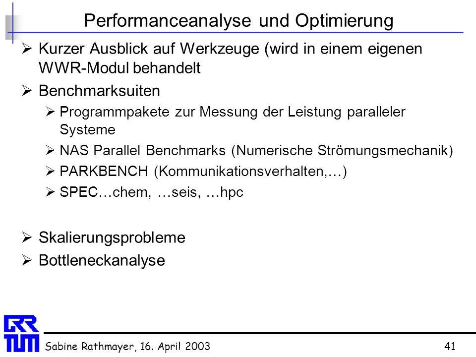 Sabine Rathmayer, 16. April 200341 Performanceanalyse und Optimierung  Kurzer Ausblick auf Werkzeuge (wird in einem eigenen WWR-Modul behandelt  Ben