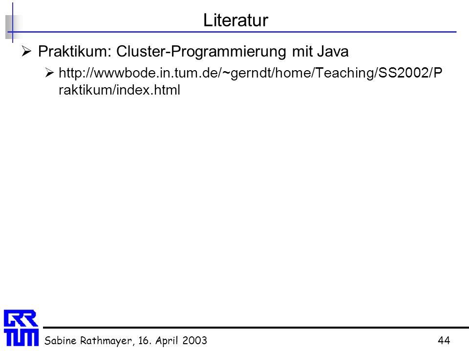 Sabine Rathmayer, 16. April 200344 Literatur  Praktikum: Cluster-Programmierung mit Java  http://wwwbode.in.tum.de/~gerndt/home/Teaching/SS2002/P ra